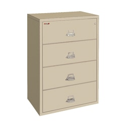 """FireKing® UL 1-Hour 31-1/8""""W Lateral 4-Drawer File Cabinet, Metal, Parchment, White Glove Delivery"""