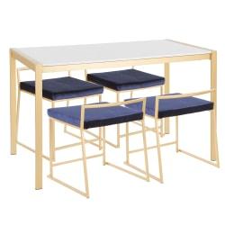 LumiSource Fuji 5-Piece Dinette Set, Gold/White/Blue