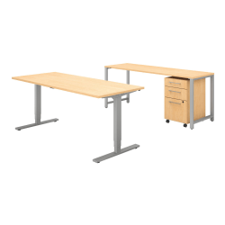 """Bush Business Furniture 400 Series 72""""W x 30""""D Height Adjustable Standing Desk With Credenza And Storage, Natural Maple, Standard Delivery"""