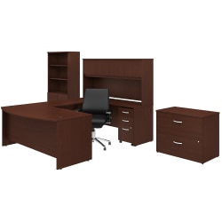 "Bush Business Furniture Studio C 72""W U-Shaped Desk With Hutch, Bookcase, File Cabinets And Mid-Back Office Chair, Harvest Cherry, Premium Installation"