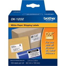"Brother DK-1202 White Die-Cut Labels, DK1202, 2.4"" x 3.9"", Pack Of 300"