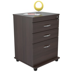"Inval 15-2/3""D Vertical 3-Drawer File Cabinet, Espresso Wengue"