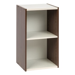 "IRIS Sema 23"" 2-Cubby Space-Saving Shelf, Walnut Brown"