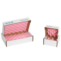 "Office Depot® Brand Antistatic Foam Shippers, 18""H x 12""W x 2 3/4""D, Pink/White, Case Of 24"