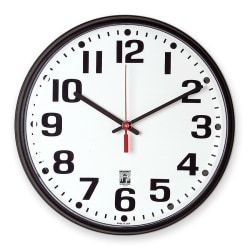 "Skilcraft Self-Set Wall Clock, 12"", Black Frame (AbilityOne 6645-01-557-3148)"