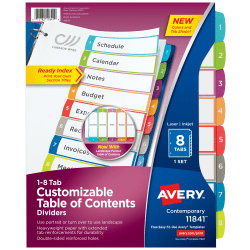 """Avery® Preprinted Tab Dividers, 8 1/2"""" x 11"""", 1-8 Tabs, White/Multicolor, Pack Of 8"""