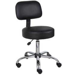 Boss Medical Stool With Back And Antimicrobial Vinyl, Black/Chrome