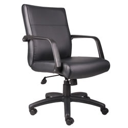 Boss Office Products Bonded Leather Executive Mid-Back Chair, Black