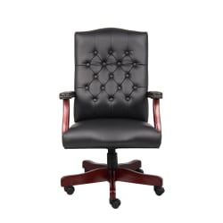 "Boss Office Products Traditional High-Back Executive Chair, 47""H,Black/Mahogany"