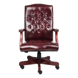 """Boss Office Products Traditional Ergonomic High-Back Executive Chair, 47""""H, Burgundy/Mahogany"""
