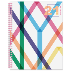 "Office Depot® Brand Weekly/Monthly Planner, 8-1/2"" x 11"", Neon Geo, January To December 2021"