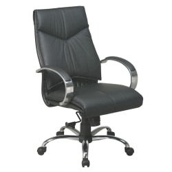 Office Star™ Deluxe Bonded Leather Mid-Back Chair, Black/Chrome