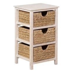 """Powell Moira 3-Basket Side Table, 23-5/8""""H x 13-5/8""""W x 11-3/4""""D, Whitewash"""