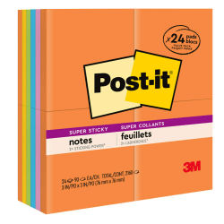 "Post-it® Super Sticky Notes, 3"" x 3"", Rio de Janeiro Collection, Pack Of 24 Pads"