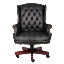 Boss Office Products Traditional Vinyl High-Back Executive Chair, Black/Mahogany