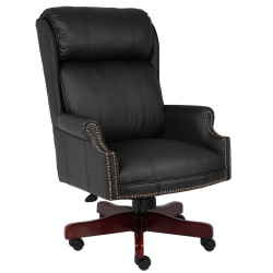 Boss Office Products Traditional Ergonomic Bonded LeatherPlus™ High-Back Chair, Black/Mahogany