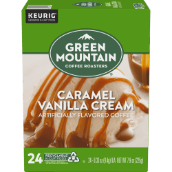 Green Mountain Coffee® Single-Serve Coffee K-Cup®, Caramel Vanilla, Carton Of 96, 4 x 24 Per Box