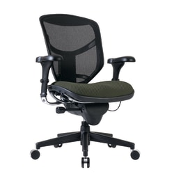WorkPro® Quantum 9000 Series Ergonomic Mesh/Fabric Mid-Back Desk Chair, Olive/Black