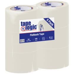 "Tape Logic® Flatback Tape, 3"" Core, 3"" x 60 Yd., Natural White, Case Of 6"