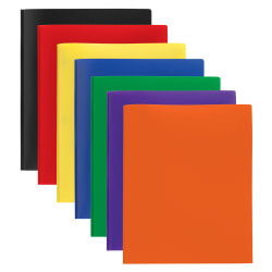 """Office Depot® Brand 2-Pocket Poly Portfolios With Prongs, 8-1/2"""" x 11"""", Assorted Colors, Pack Of 48"""