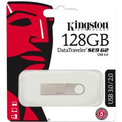 Kingston 128GB DataTraveler SE9 G2 USB 3.0 Flash Drive - 128 GB - USB 3.0 - Silver