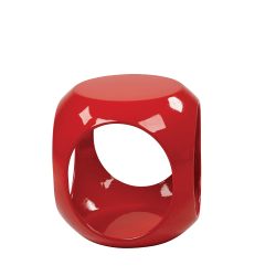 Ave Six Slick Table, Accent, Round, High-Gloss Red