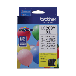 Brother® High-Yield Ink Cartridge, Yellow, LC203YS