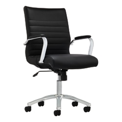 Realspace® Modern Comfort Winsley Bonded Leather Mid-Back Manager's Chair, Black/Silver