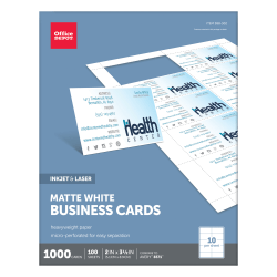 """Office Depot® Brand Matte Business Cards, 2"""" x 3 1/2"""", White, Pack Of 1,000"""