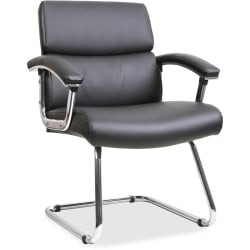 Lorell® Bonded Leather/Chrome Guest Chair, Black