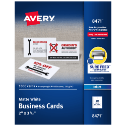 """Avery® Inkjet Microperforated Business Cards, Sure Feed™ Technology, 2"""" x 3 1/2"""", Matte White, Pack Of 1,000"""