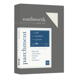 "Southworth Fine Business Parchment Paper, 24 Lb,  8 1/2"" x 11"",  Ivory, Pack Of 500 sheets"