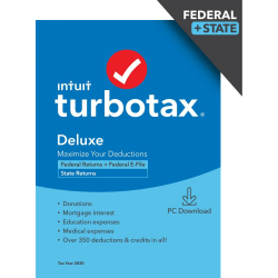 TurboTax Desktop Deluxe 2020 Federal Efile + State (Windows)