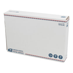 """United States Post Office Fold Over Flap Shipping Box, 12-1/4"""" x 3"""" x 17-5/8"""", White"""