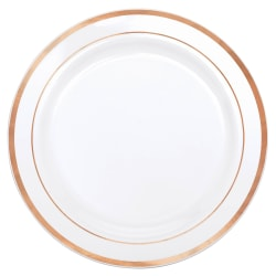 """Amscan Premium Plastic Plates With Trim, 7-1/2"""", White/Rose Gold, Pack Of 20 Plates"""
