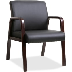 Lorell® Wood Bonded Leather Guest Chair, Black/Espresso