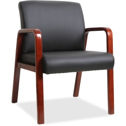 Lorell® Wood Bonded Leather Guest Chair, Black/Cherry Mahogany