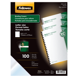 "Fellowes® Clear Presentation Binding Covers, 8 1/2"" 11"", Clear, Pack Of 100"