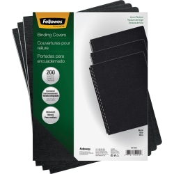 """Fellowes® Linen Classic Presentation Covers, 8 3/4"""" x 11 1/4"""", Black, Pack Of 200"""