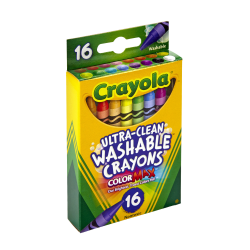 Crayola® Washable Crayons, Assorted Colors, Pack Of 16 Crayons