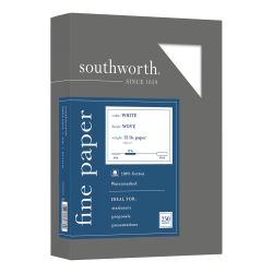 "Southworth® 100% Cotton Business Paper, 8 1/2"" x 11"", 32 Lb, White, Box Of 250"