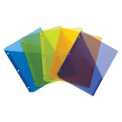"Wilson Jones® Poly Slash Jackets, 8 1/2"" x 11"", Assorted Colors, Pack Of 5"