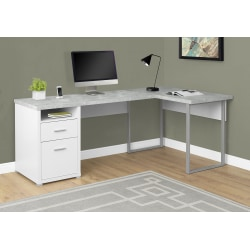 Monarch Specialties L-Shaped Computer Desk With 2 Drawers, Gray Cement/White