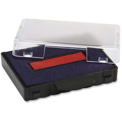 """U.S. Stamp & Sign Replacement Ink Pads - 1 Each - 0.6"""" Width x 2.5"""" Length - Blue, Red Ink - Plastic"""