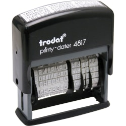 "Trodat Economy 12-Message Date Stamp, 2"" x 3/8"" Impression, 70% Recycled, Black"