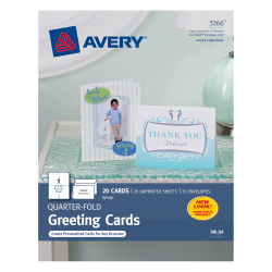 "Avery® Quarter-Fold Greeting Cards, 4 1/4"" x 5 1/2"", White, Pack Of 20"