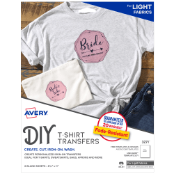 Avery® Light Fabric T-Shirt Transfers For Inkjet Printers, 3271, Pack Of 6