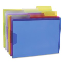 "Pendaflex® Poly View Folders, 1"" Expansion, Letter Size, Assorted Colors, Pack Of 6 Folders"