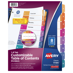 Avery® Ready Index® 20% Recycled Table Of Contents Dividers, 1-8 Tab, Multicolor, Pack Of 6 Sets