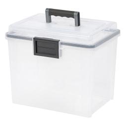 "IRIS® Weather-Tight Mobile File Box, 11 1/2""H x 13 3/4""W x 10 7/16""D, Clear"